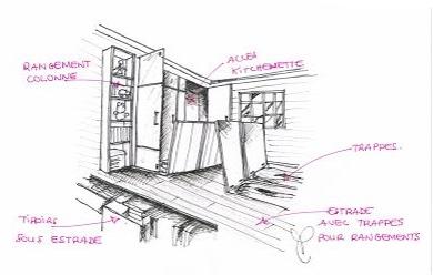 Rangement trappe pour agencer une Tiny house.