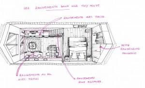 Rangements optimisés dans une Tiny house.