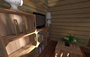 Un meuble composé de cagettes permet au salon d'obtenir un vrai meuble TV avec rangements. Voici un intérieur de Tiny house bien confortable !