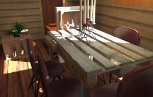 Une table de repas en palette pour une Tiny house. Une déco économique et astucieuse.