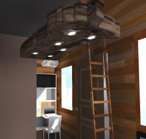 Un beau morceau de bois (en guise de suspension) brut trouvera parfaitement sa place dans un intérieur de Tiny house.