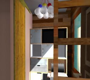 Des ampoules apparentes pour une suspension très originale dans une Tiny house.
