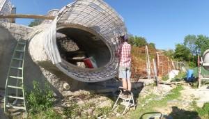 Construction de maison bulle.