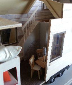 L'agencement de la 1ère maquette de Tiny house en bois.